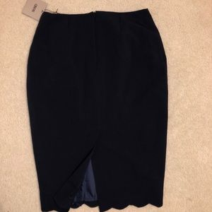 ASOS Navy Blue Midi Pencil Skirt with Scallop Hem